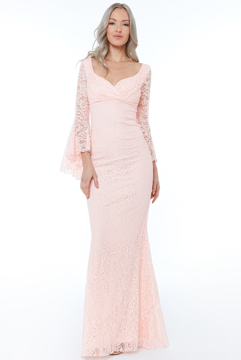 Blush Frill Sleeve Maxi Dress