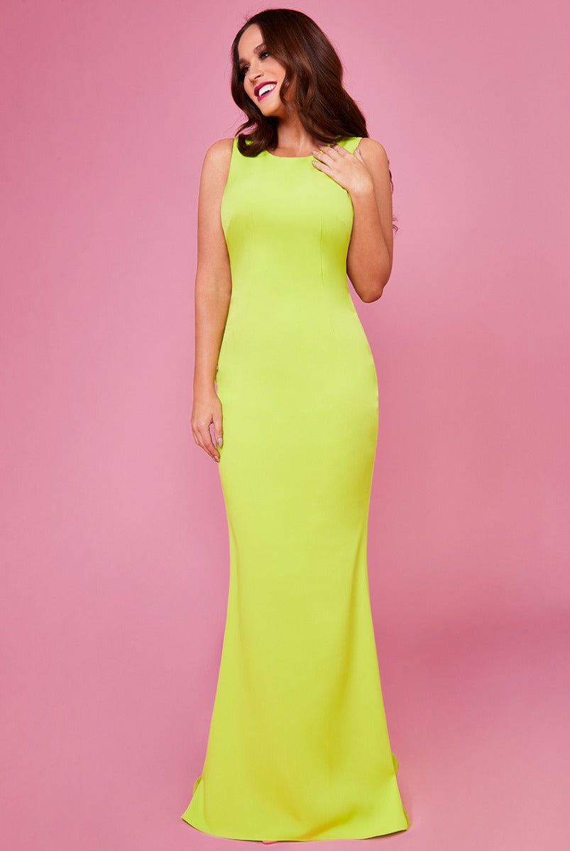 Low Back Strap Bow Maxi Dress by Vicky Pattison  - Lime