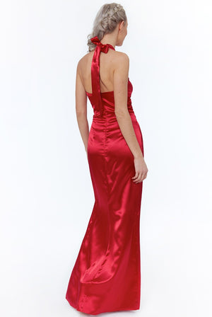 Red Knot Front Halter Neck Maxi Dress