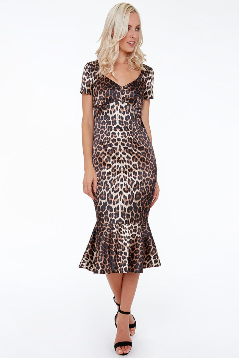 Animal Print Midi with Frill Hem - Animalprint