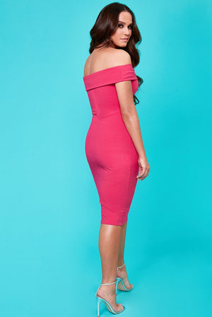 Buckle Bardot Midi Dress by Vicky Pattison - Cerise