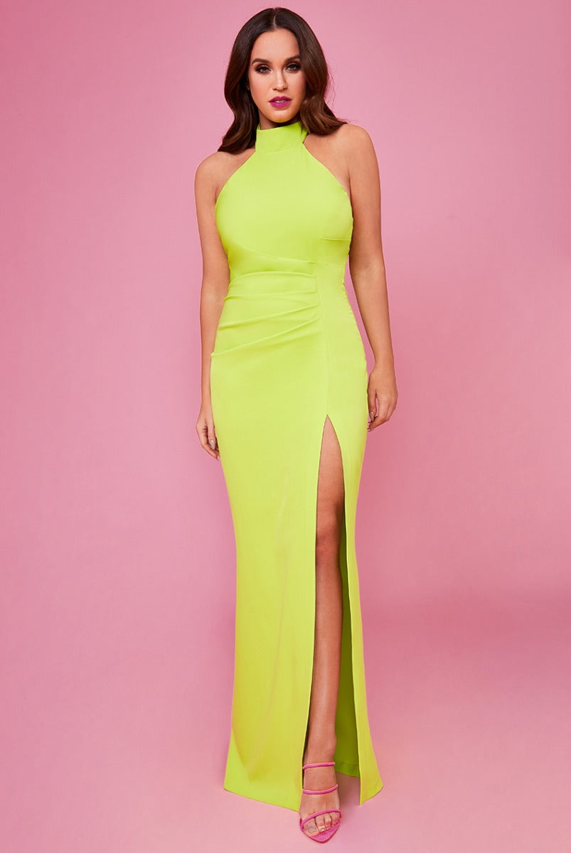 Halter Neck Maxi Dress by Vicky Pattison - Lime