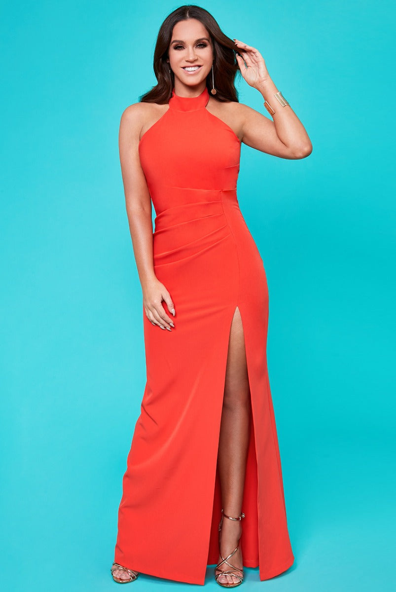 Halter Neck Maxi Dress by Vicky Pattison - Orange