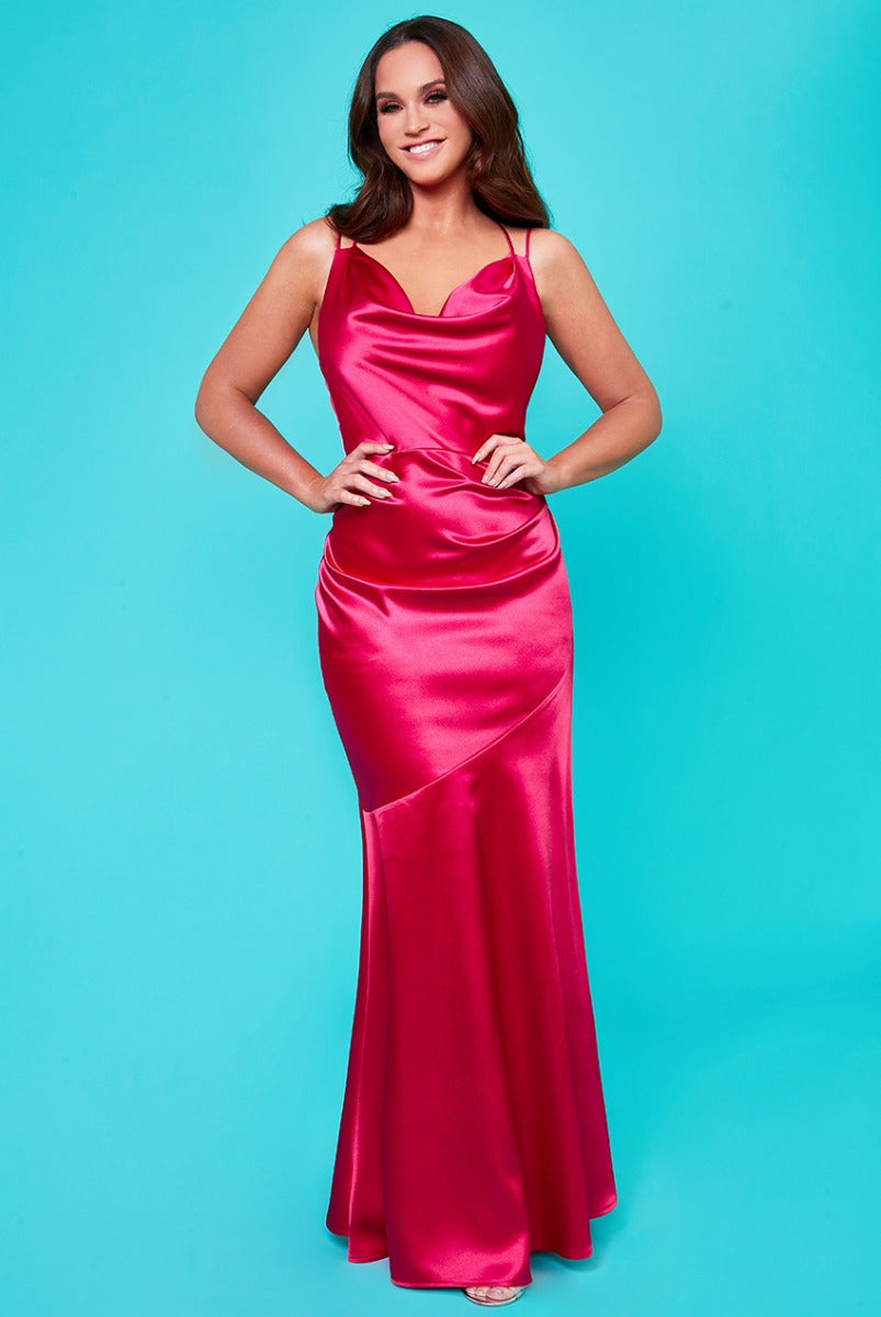 Vicky Pattison Cowl Neck with Strappy Back Maxi Dress - Cerise