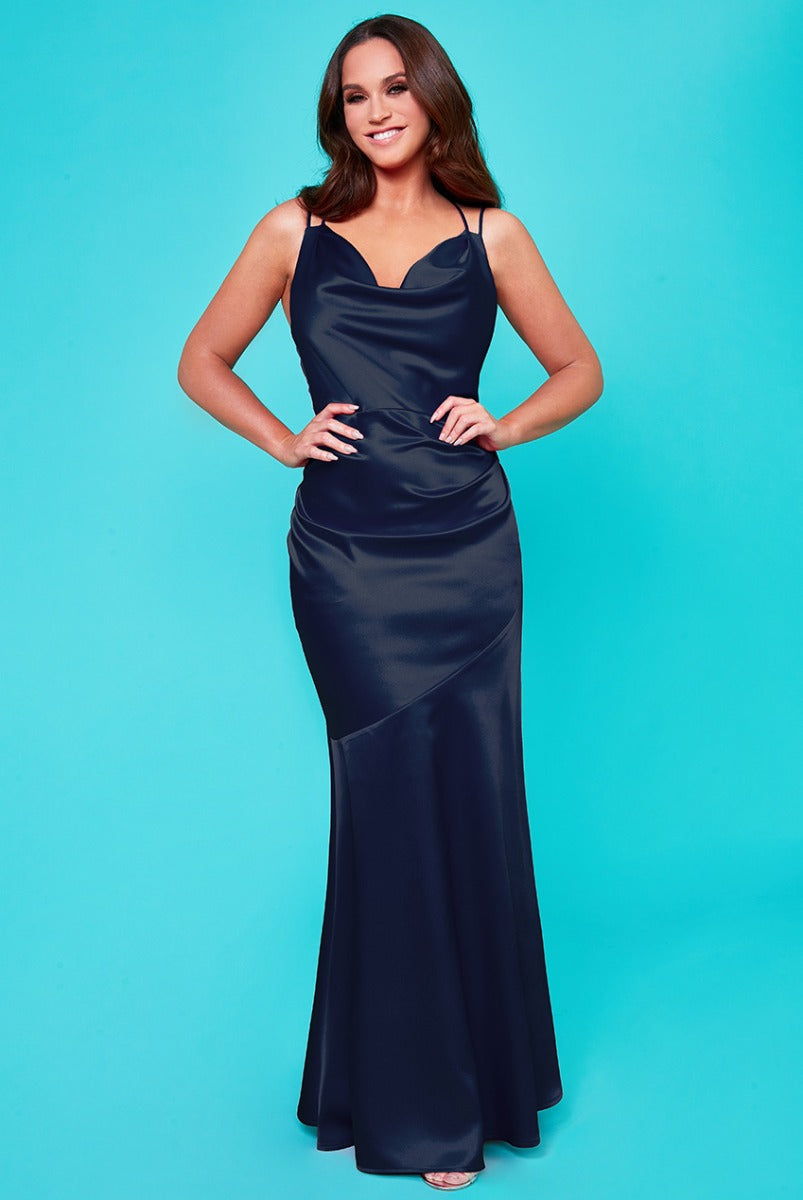 Vicky Pattison Cowl Neck with Strappy Back Maxi Dress - Navy