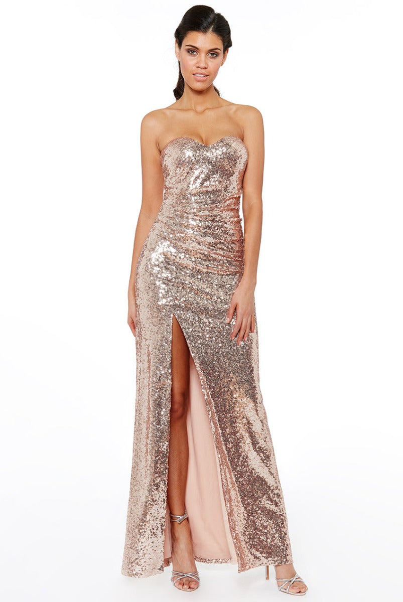 Champagne Sequin Bandeau Split Maxi Dress
