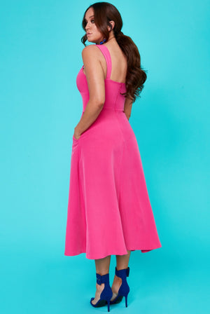 Vicky Pattison - Strap Tea Dress with Slits - Cerise