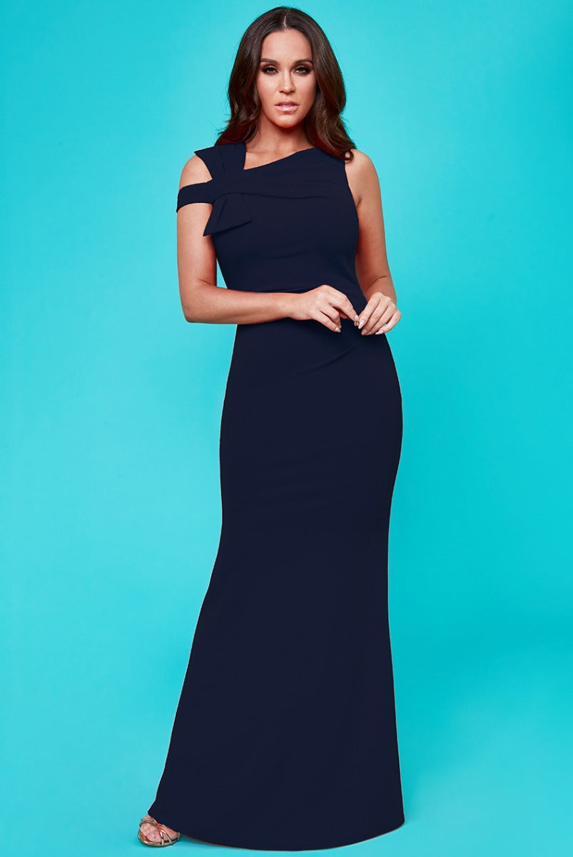 Vicky Pattison - Side Shoulder Bow Maxi Dress - Navy