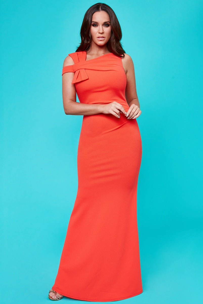 Vicky Pattison - Side Shoulder Bow Maxi Dress - Orange