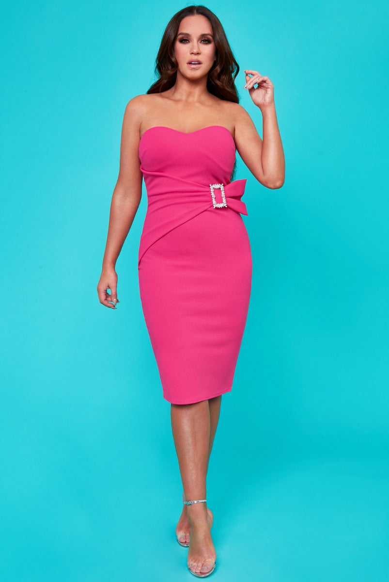Buckle Bandeau Midi Dress by Vicky Pattison - Cerise