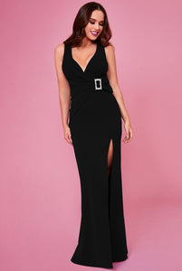 Buckle Front Maxi Dress by Vicky Pattison - Black
