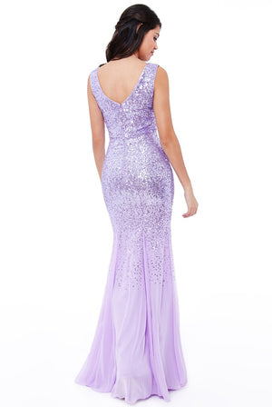 Lavender Sequin Chiffon Maxi Dress