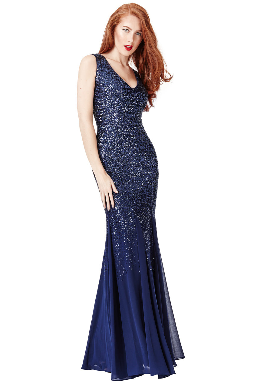 Navy Sequin Chiffon Maxi Dress
