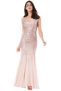 Rose Sequin Chiffon Maxi Dress