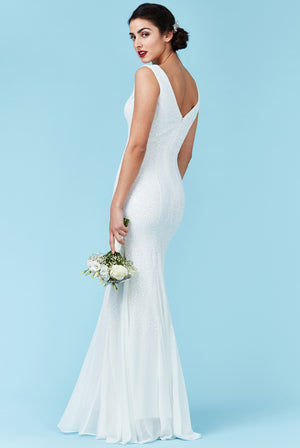 Sequin and Chiffon Maxi Wedding Dress