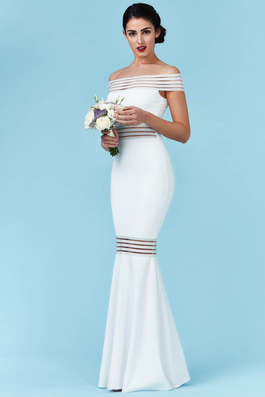 Bardot Fishtail Maxi Wedding Dress - White
