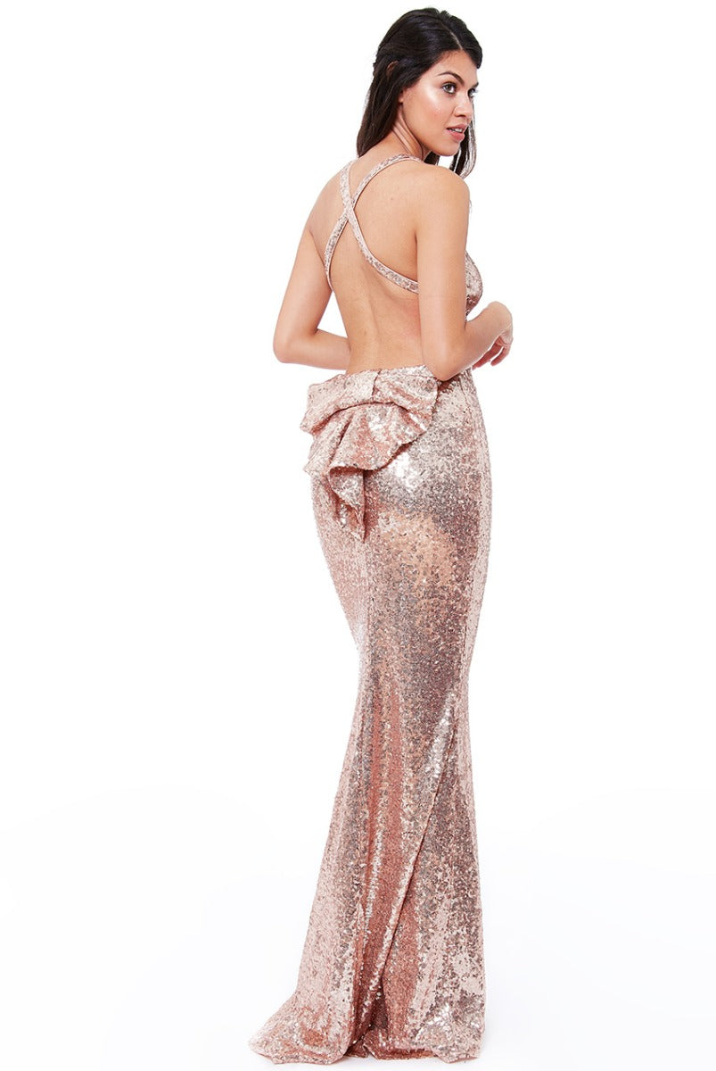 Champagne Sequin Cross Back Maxi Dress