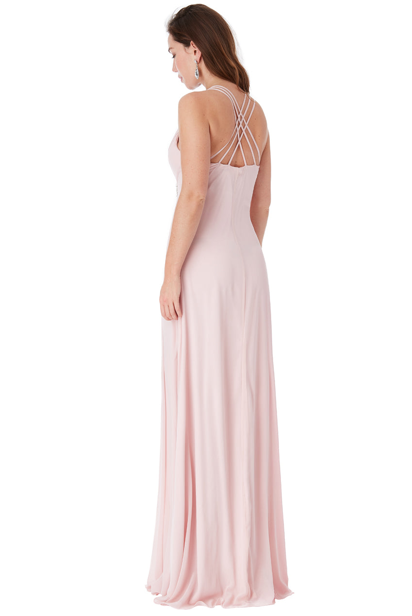 V Neck Embellished Maxi Dress - Rose