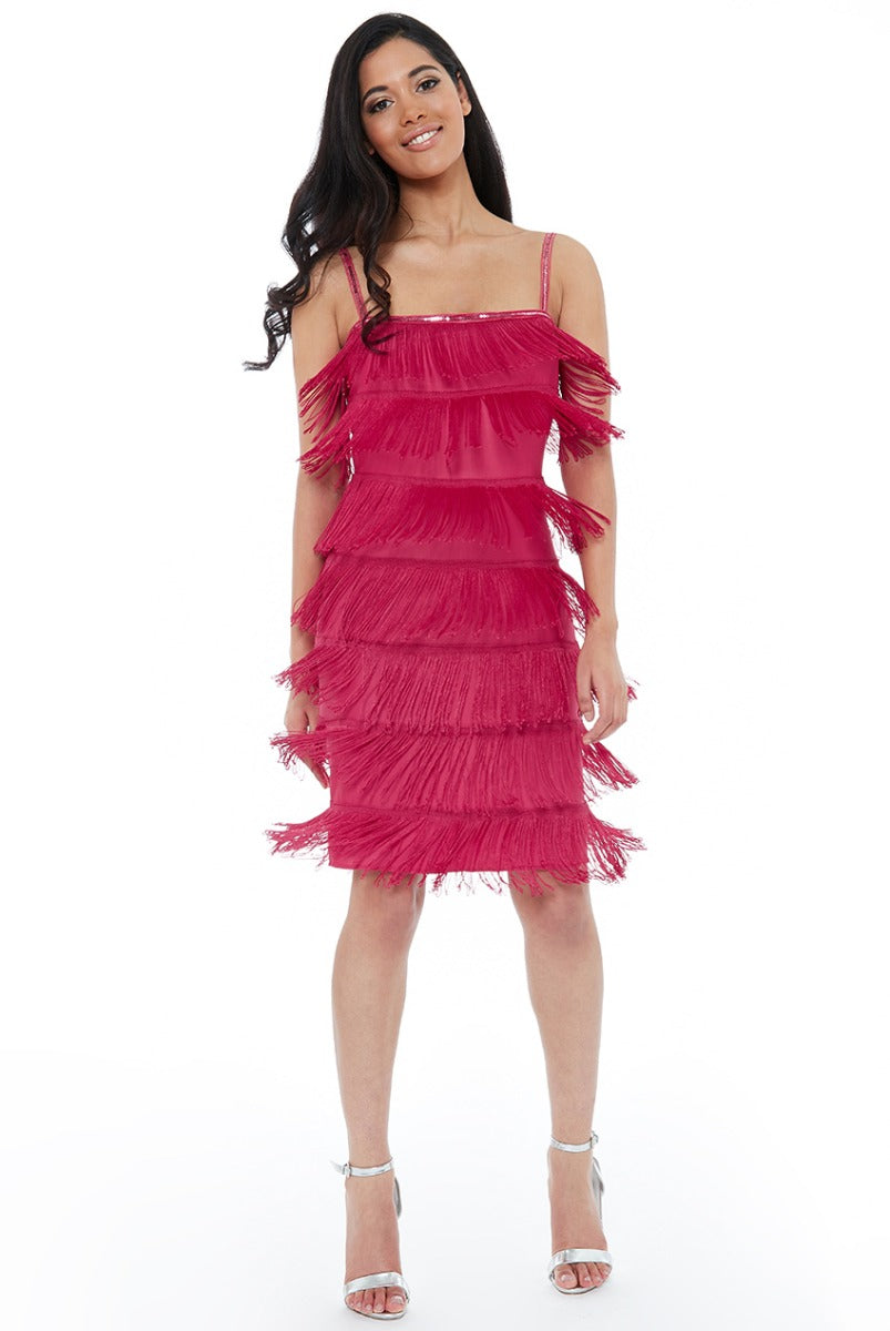 Gatsby 20's Flapper Fringe Mini Dress - Cerise