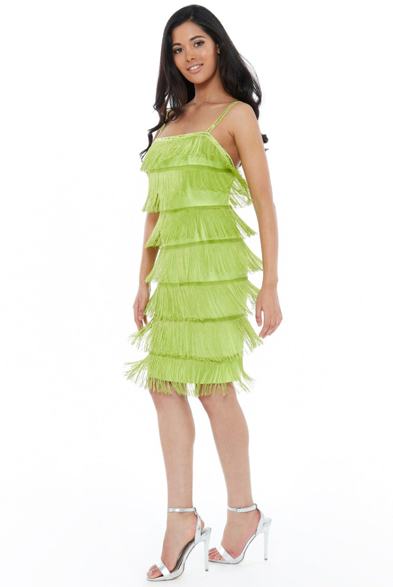 Gatsby 20's Flapper Fringe Mini Dress - Lime