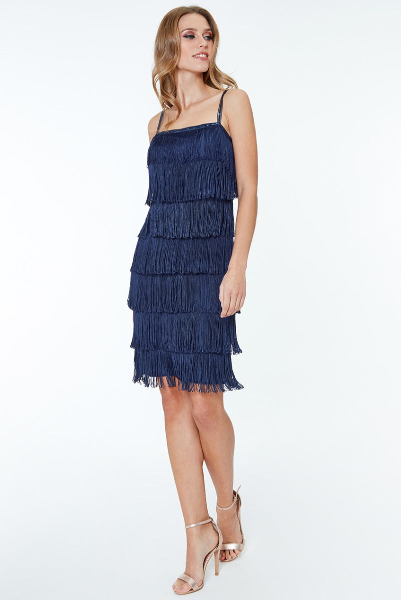Gatsby 20's Flapper Fringe Mini Dress - Navy