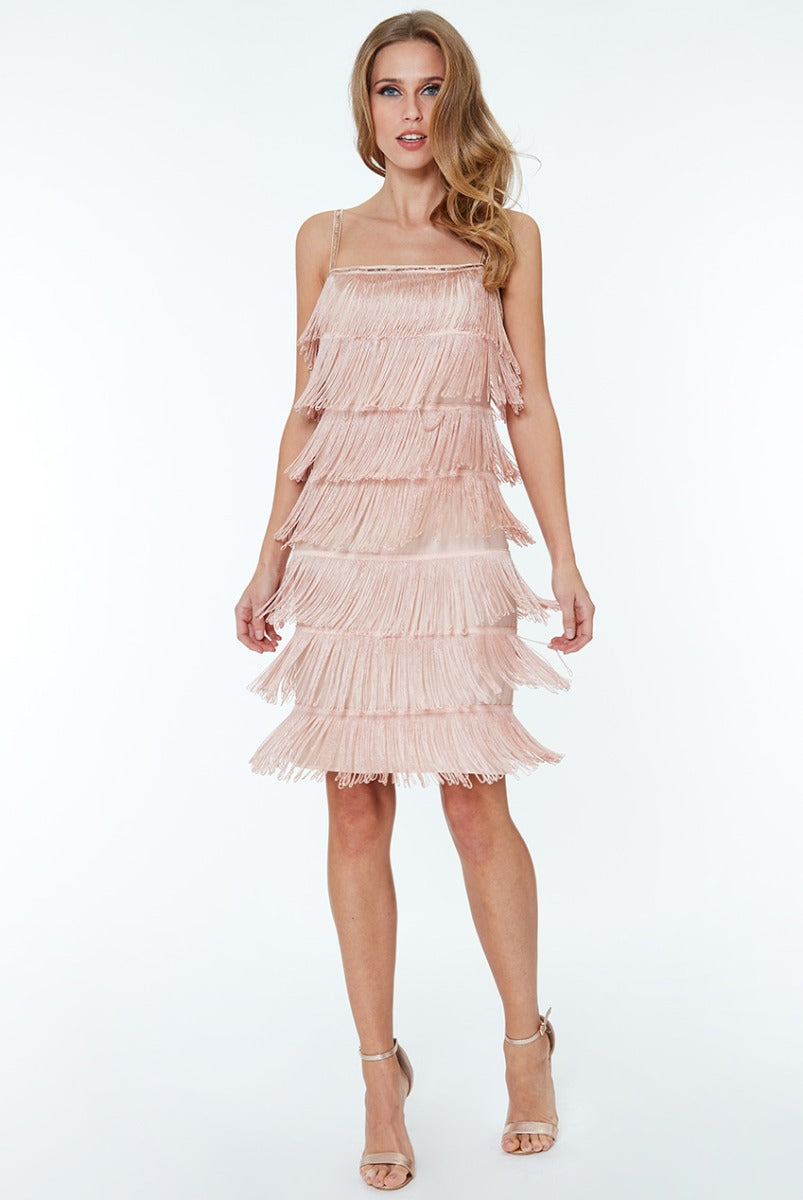 Gatsby 20's Flapper Fringe Mini Dress - NUDE