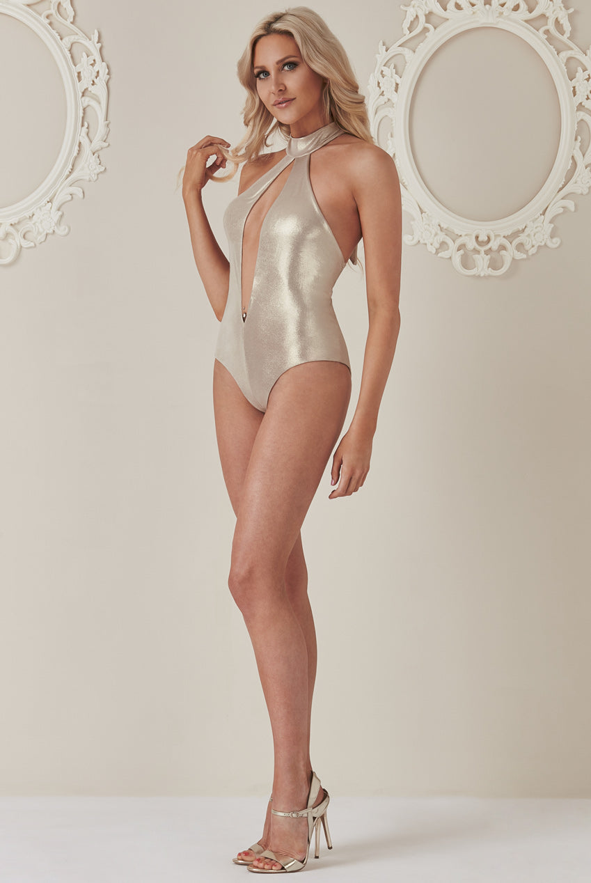 Stephanie Pratt - Halter Neck Cut Out Swimsuit - Gold