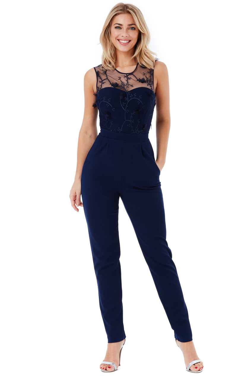 Floral Embroidered Jumpsuit - Navy