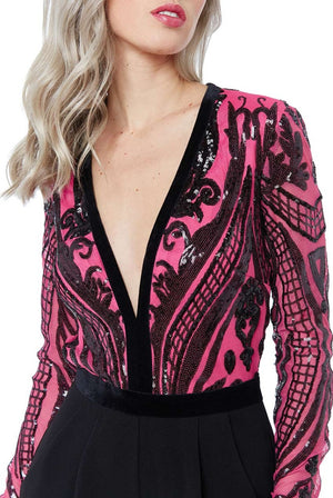 Cerise Sequin Long Sleeve Jumpsuit