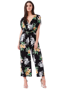 Wide-Leg Floral Print Jumpsuit with Overlapping V Neck - Blackfloral