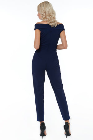 Bardot Crossover Jumpsuit - Navy
