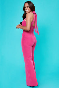 Halter Neck Jumpsuit by Vicky Pattison - Cerise