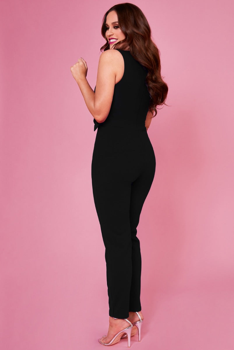 Buckle Plunge Jumpsuit by Vicky Pattison - Black