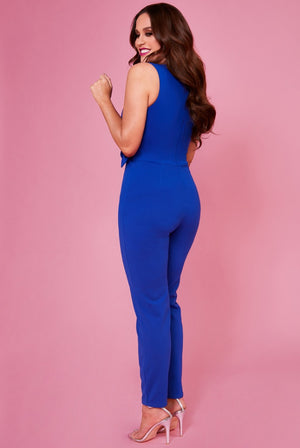 Buckle Plunge Jumpsuit by Vicky Pattison - Royal Blue