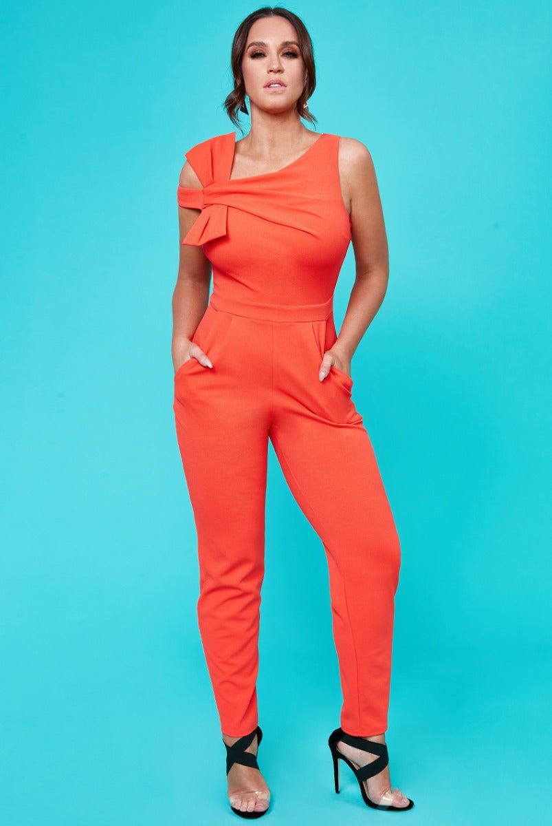 Bow Front Jumpsuit by Vicky Pattison - Orange