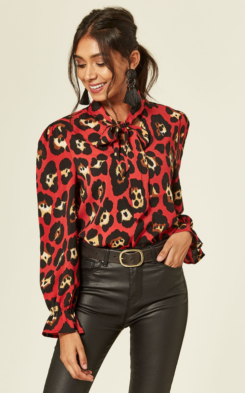 Pussy Bow Leopard Print Blouse In Red