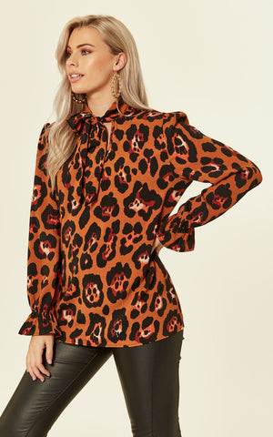 Pussy Bow Leopard Print Blouse In Rust