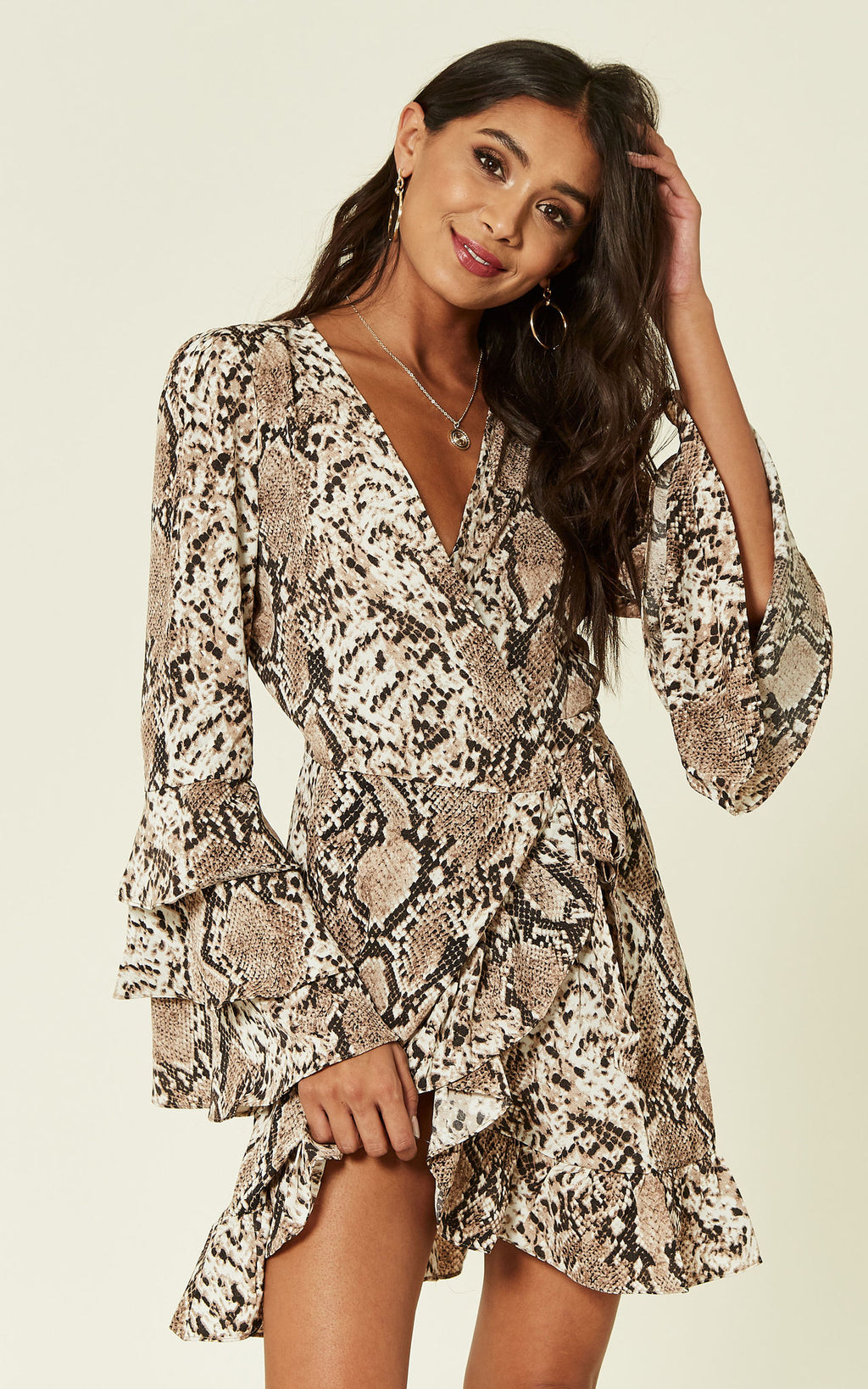 Triple Ruffle Sleeve Snake Wrap Dress