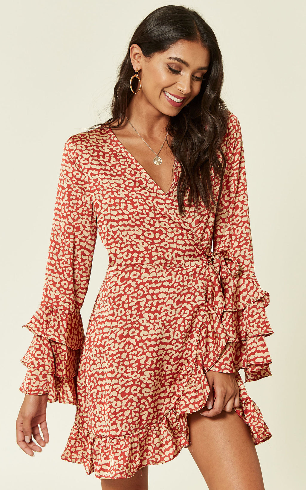 Triple Ruffle Silky Rust Leopard Wrap Dress