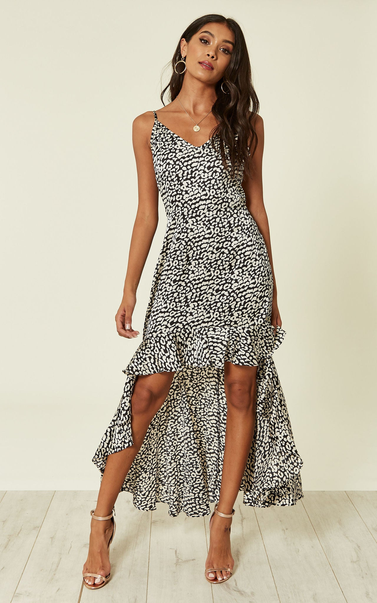 Small Leopard Print High Low Maxi Dress In Black And White