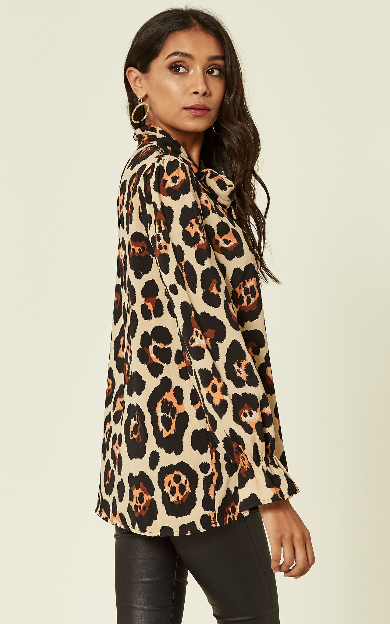 Pussy Bow Leopard Print Blouse In Beige