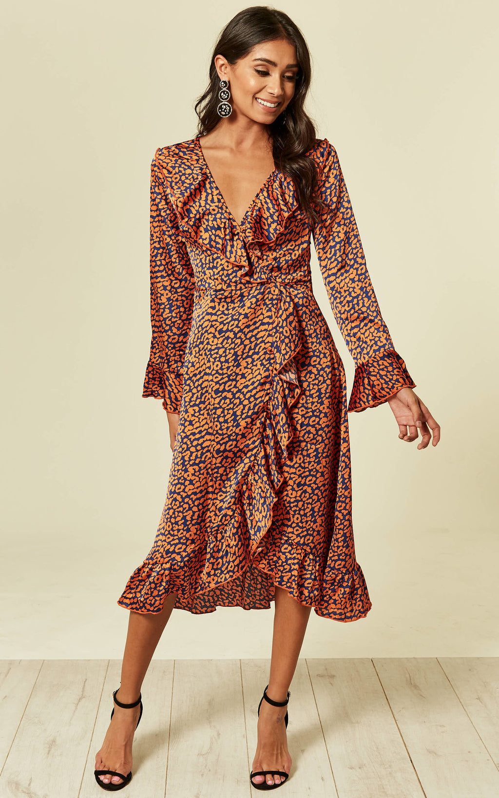 Navy Leopard Wrap Closed Midi Dress
