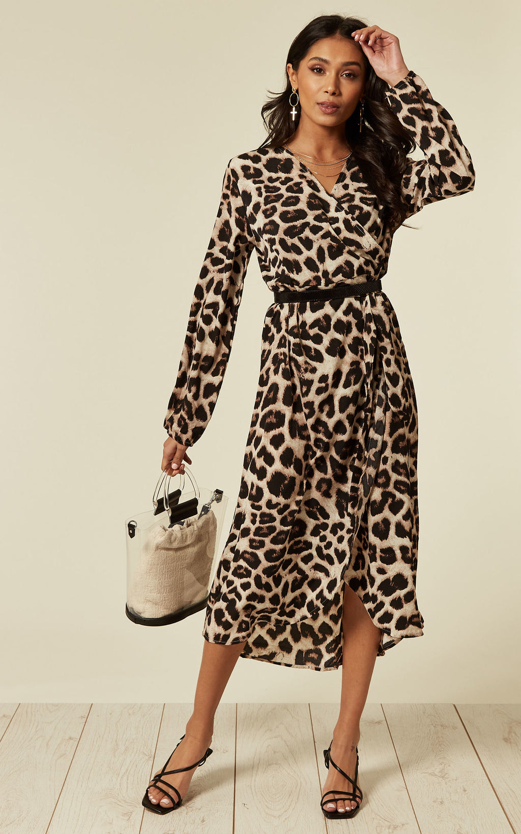 Luciana Brown Leopard Wrap Dress