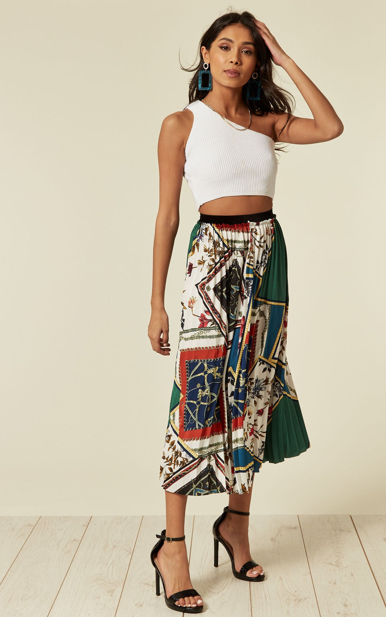 Pleated Midi Skirt In Mixed Chain Print