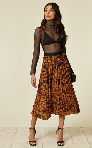Ynes Rust Pleated Snake Skirt