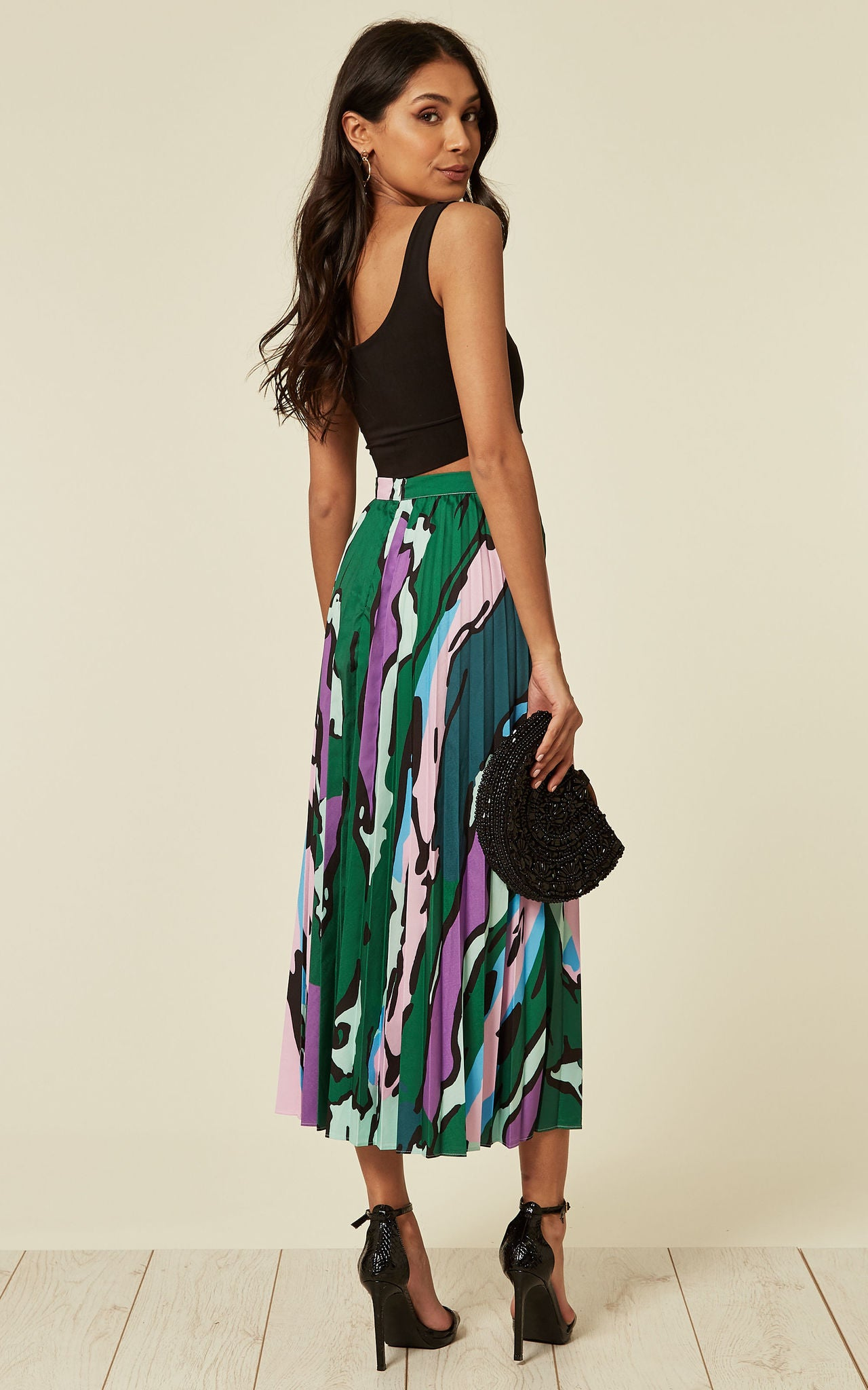 Lucy Camo Green Leopard Pleated Skirt