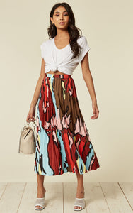 Lucy Camo Red Leopard Pleated Skirt