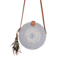 grey round rattan bag balinese handmade festival gypsea bag bohemian style dream catcher