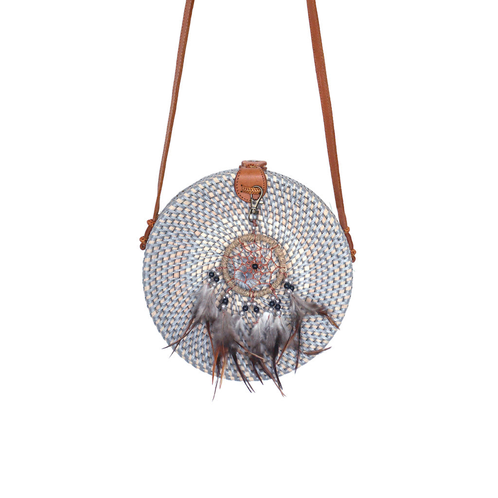 grey round rattan bali bag gypsea festival dreamcatcher bohemian accessory boho bag