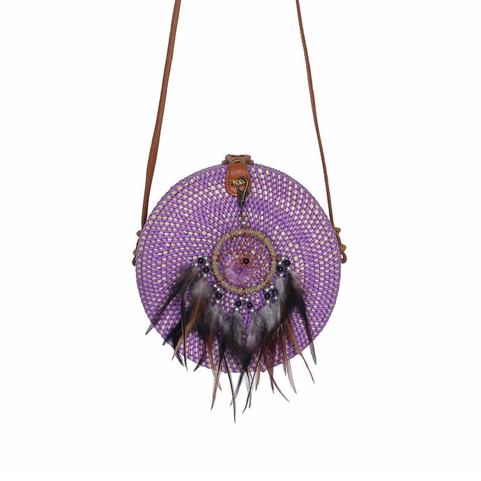 round rattan bag purple gypsea festival accessory dreamcatcher bohemian style